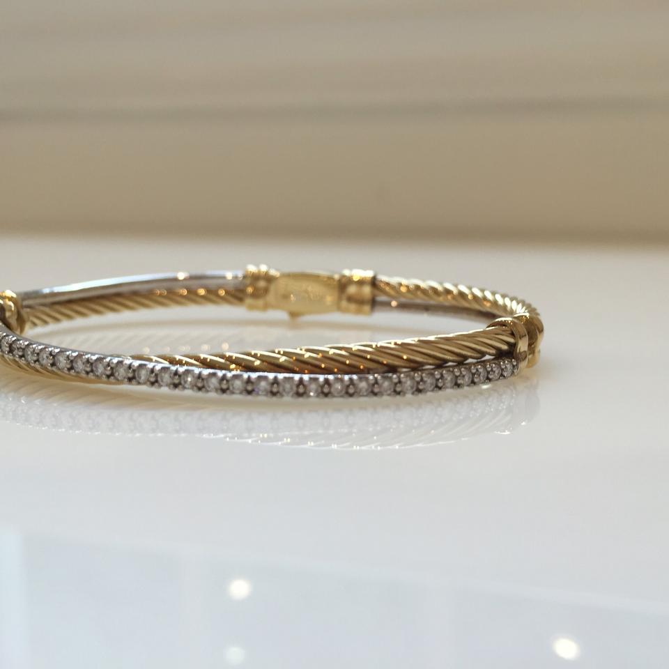 David Yurman Solid 18k Gold Diamond Cable Crossover Bracelet 123456789101112