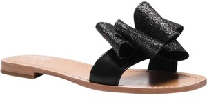 Kate Spade Cecily Cicely Glitter Bow Sliders Flats Blacks / Beige Sandals