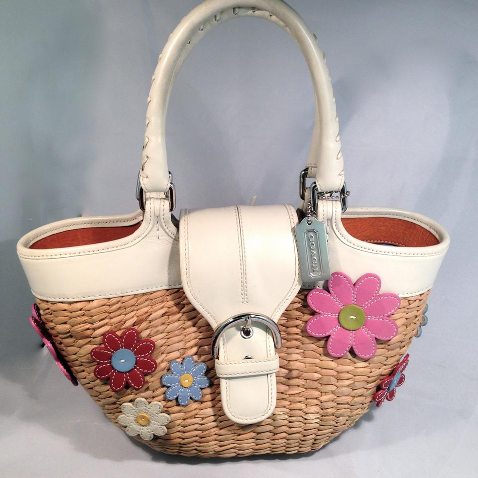 Coach Vintage Limited Edition 1of 500 Basket Rare Straw And White Leather With Mixed Color Flowers Tote Tradesy