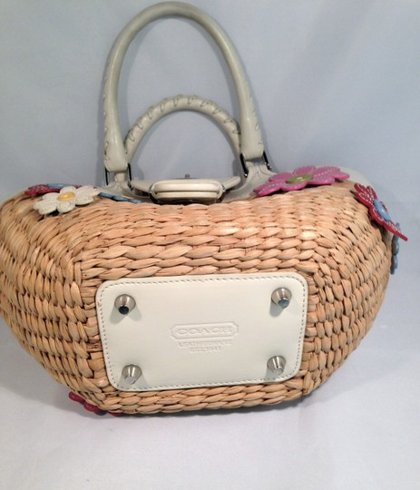 Coach Vintage Rare Collectors Tote in Straw and White Leather with Mixed Color Leather Flowers