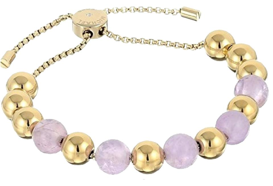 Michael Kors Mkj5455710 Women S Purple Gold Beaded Stretch Bracelet