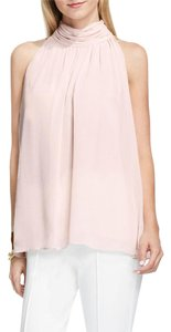 Vince Camuto Shirred Mock Neck Back Button Sleeveless Light Top Pink