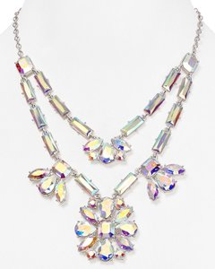 Kate Spade Faceted Glass Crystals and Rhodium Plate Ethereal Heavenly Capital Glow Statement Necklace