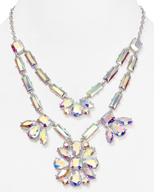 Item - Faceted Glass Crystals and Rhodium Plate Ethereal Heavenly Capital Glow Statement Necklace