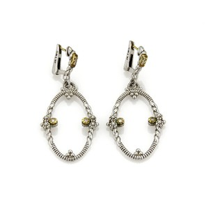 Judith Ripka Diamond 18k Yellow Gold Sterling Dangle Earrings