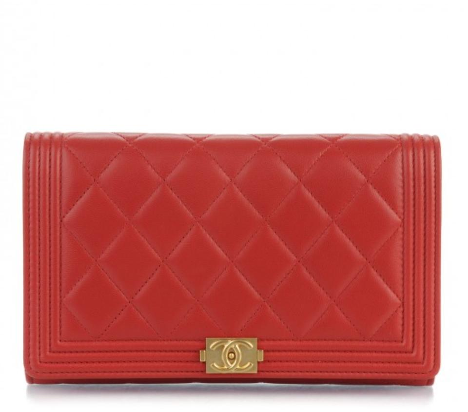 305cff96bc7115 Chanel Wallet on Chain Boy Quilted Le Red Lambskin Leather Shoulder Bag