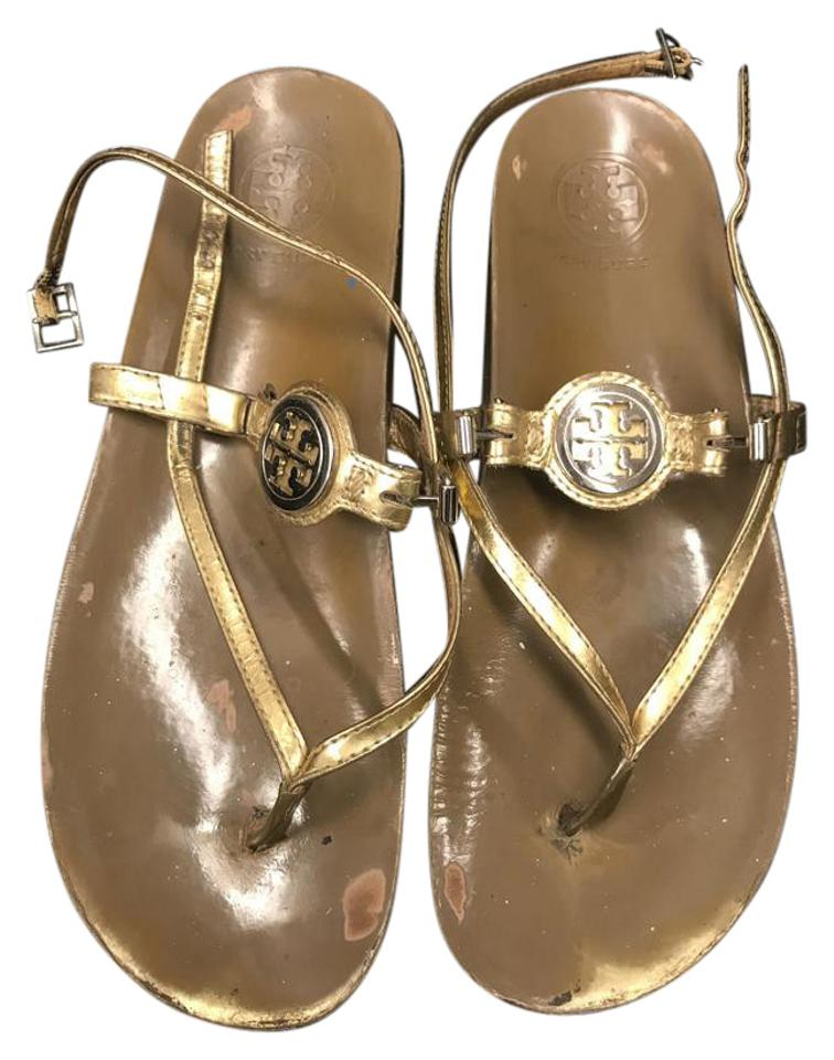 589d05aec29caf Tory Burch Gold T T-strap Thong Sandals Size US 9 Regular (M