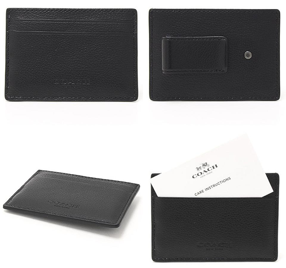 Coach black new mens leather business card case holder money clip business card case holder money clip black 1234567 colourmoves