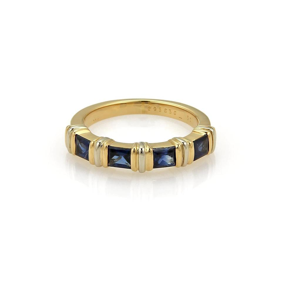 7d3e8f84fb26b Cartier Yellow Gold Blue Sapphire 1.00ct Princess 18k Stack Band Size 52  Ring