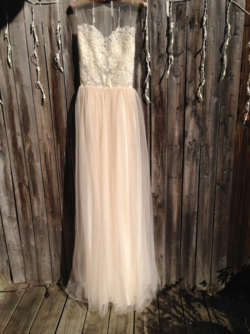 Item - Cream To Hint Of Rose and Tulle An Vintage Wedding Dress Size 2 (XS)