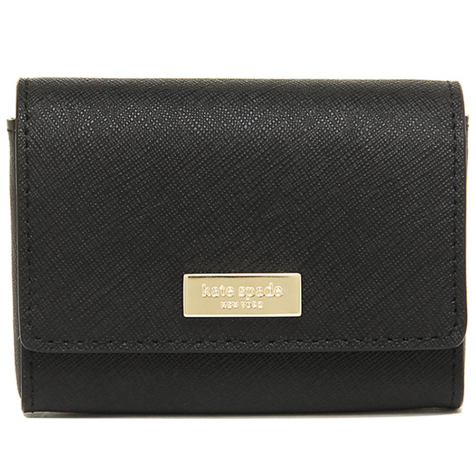 Kate Spade Black New Gold Logo Saffiano Leather Business Card Holder ...
