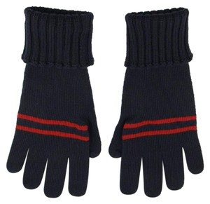 Gucci Gucci Navy Blue Wool Gloves with BRB web L 294732 4073