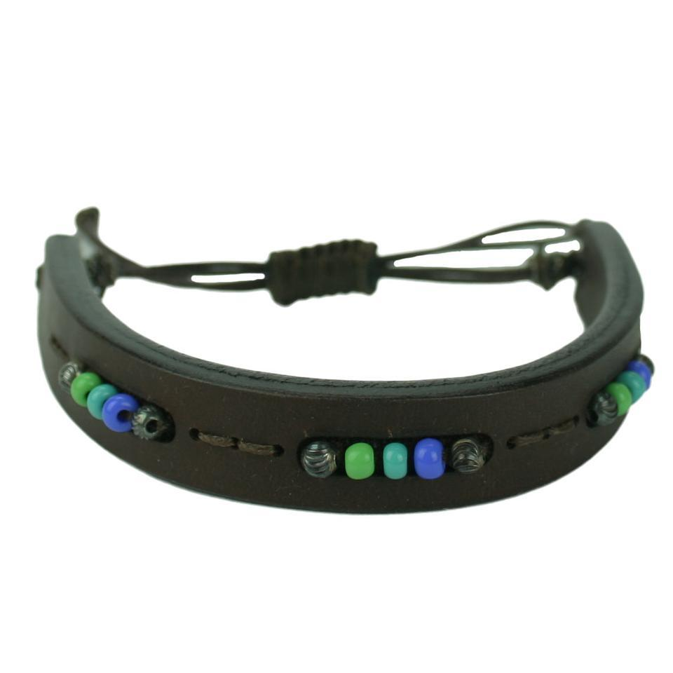 Gucci Brown Leather Men S Bracelet With Multicolor Beads 373847
