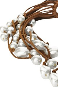 Chico's Faux Suede Leather & Pearl Multistrand Bib Fringe Necklace Mara NEW