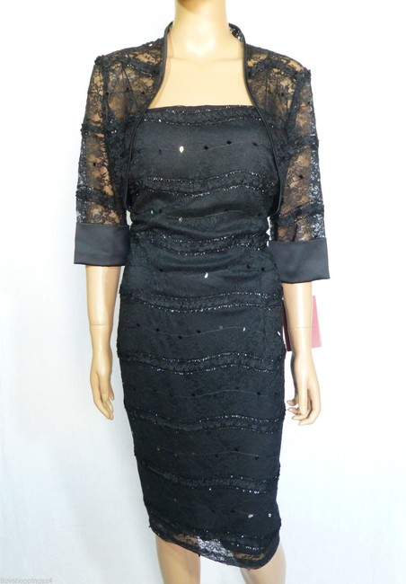 JS Collections Black New Embellished Lace Bolero Short Cocktail Dress Size 4 (S) JS Collections Black New Embellished Lace Bolero Short Cocktail Dress Size 4 (S) Image 2