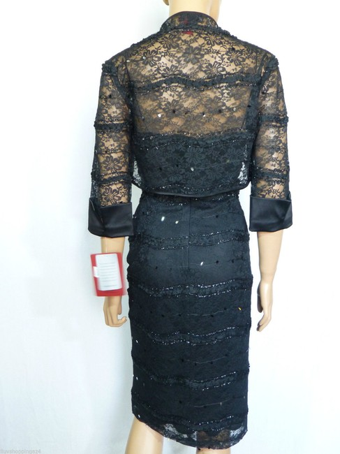 JS Collections Black New Embellished Lace Bolero Short Cocktail Dress Size 4 (S) JS Collections Black New Embellished Lace Bolero Short Cocktail Dress Size 4 (S) Image 3