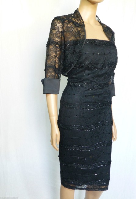 JS Collections Black New Embellished Lace Bolero Short Cocktail Dress Size 4 (S) JS Collections Black New Embellished Lace Bolero Short Cocktail Dress Size 4 (S) Image 4