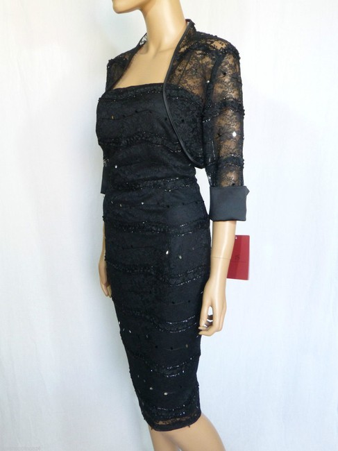 JS Collections Black New Embellished Lace Bolero Short Cocktail Dress Size 4 (S) JS Collections Black New Embellished Lace Bolero Short Cocktail Dress Size 4 (S) Image 5