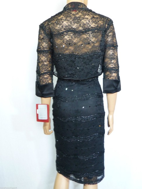 JS Collections Black New Embellished Lace Bolero Short Cocktail Dress Size 4 (S) JS Collections Black New Embellished Lace Bolero Short Cocktail Dress Size 4 (S) Image 6
