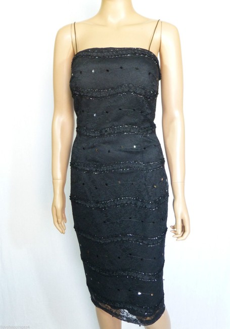 JS Collections Black New Embellished Lace Bolero Short Cocktail Dress Size 4 (S) JS Collections Black New Embellished Lace Bolero Short Cocktail Dress Size 4 (S) Image 9