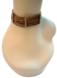 Gerard Yosca Bronze Beaded Choker Necklace Crystal Rhinestone Gold Tone Signed