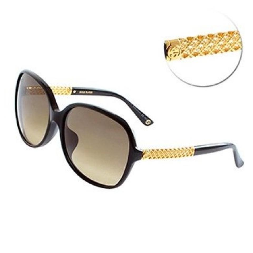 c780796c4c28 Gucci Black Gg 3707/F/S Asian Fit Gold Plated 2xted Sunglasses - Tradesy