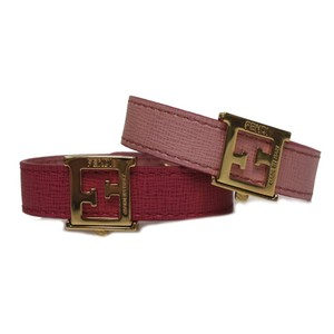 d0e6efeef3db Fendi Fendi  Crayons  Reversible Pink   Red Saffiano Leather Bracelet 8AG408
