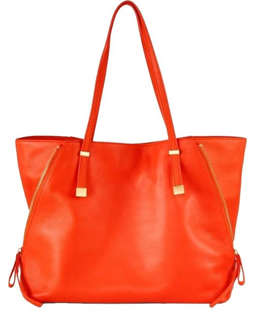 Item - Bag Edie Expandable Bright with Gold Hardware Orange Leather Tote