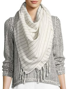 "Eileen Fisher NWT ""Square Scarf ORGANIC COTTON RUNNING STITCH Stripe"""