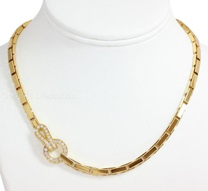 Cartier 18K Yellow Gold AGRAFE Diamond Necklace.