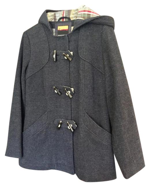 Item - Grey Hooded Wool Winter with Toggles Coat Size 8 (M)