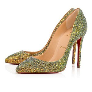 Christian Louboutin Pigalle Follies Dragonfly 100mm light green, rose gold, glittered Pumps