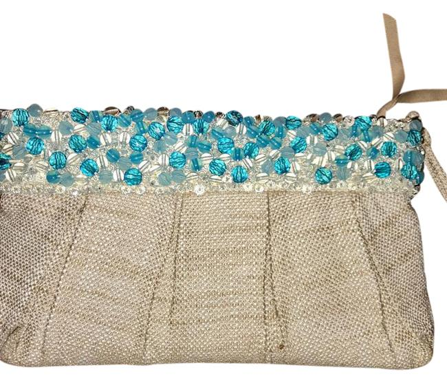 Item - Jeweled Canvas Wristlet Blue and Natural Clutch