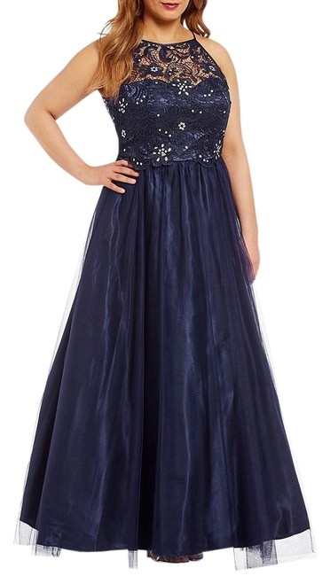 Item - Navy Stone Embellished Lace Bodice Ball Gown Long Formal Dress Size 22 (Plus 2x)
