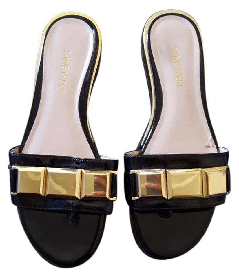 c3addf0b3137 Nine West Black Xtina Synthetic Open Gold Womens Sandals Size US 6 ...