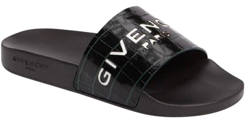 095a1707f880 Givenchy Logo Slide Slides Leather Slides Bottle Green Sandals Image 0 ...