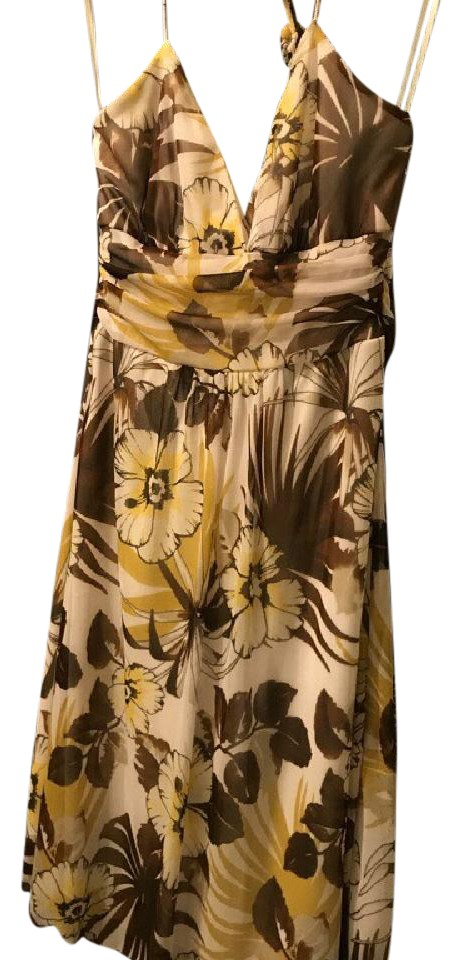 17c975f9bb1 Charlotte Russe White Brown Yellow Floral Mid-length Short Casual ...