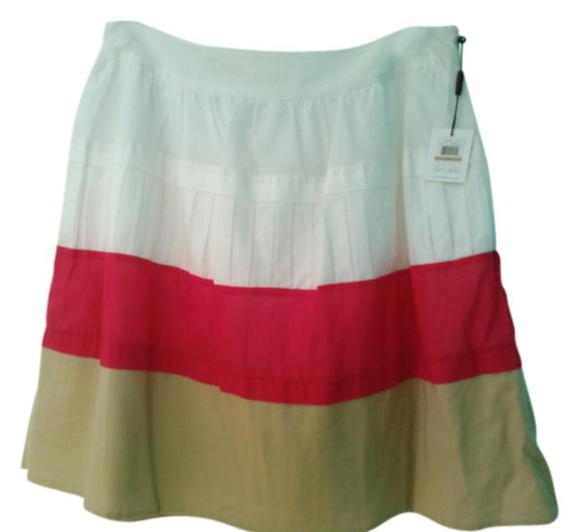 Item - White with Tan and Fuchsia Fun Summer Skirt Size 12 (L, 32, 33)