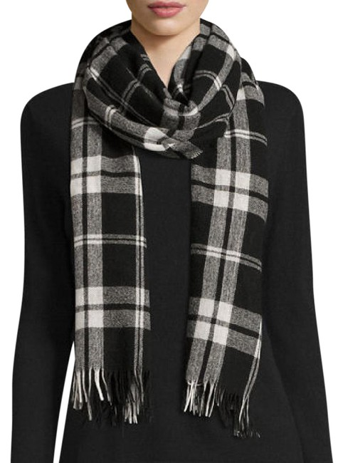 """Item - Black In Italian Wool and Cashmere Plaid"""" Scarf/Wrap"""