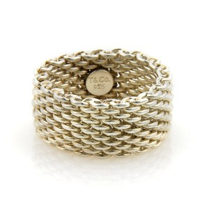 Tiffany & Co. 17157 - TIFFANY & CO. Somerset Sterling 10mm Wide Mesh Band Ring