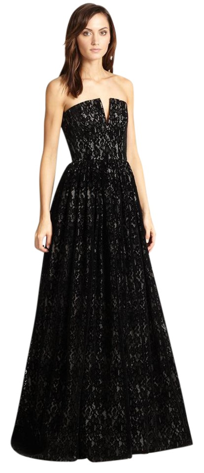 Alice + Olivia Black Lace Bustier Evening Gown Long Formal Dress ...