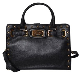 Michael Kors Mk Large Hamilton Pebbled Leather Purse Mk Purse Mk Rock & Roll Satchel in Black/Gold Hardware