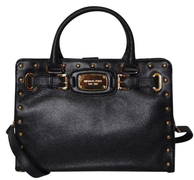Michael Kors Hamilton Rock & Roll Studded Medium Chain New with Tags Black/Gold Hardware Leather Satchel Michael Kors Hamilton Rock & Roll Studded Medium Chain New with Tags Black/Gold Hardware Leather Satchel Image 1