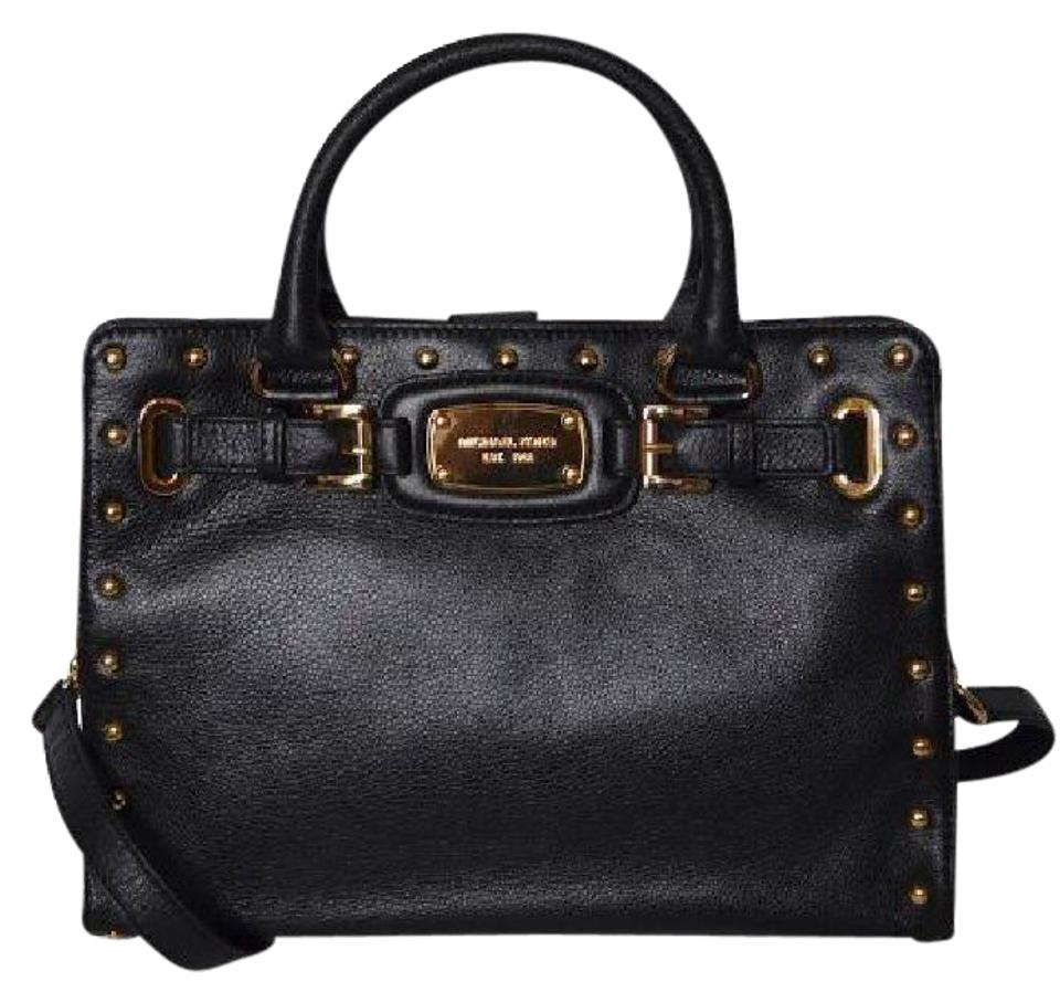 Michael Kors Hamilton Rock & Roll Studded Medium Chain New with Tags BlackGold Hardware Leather Satchel 55% off retail