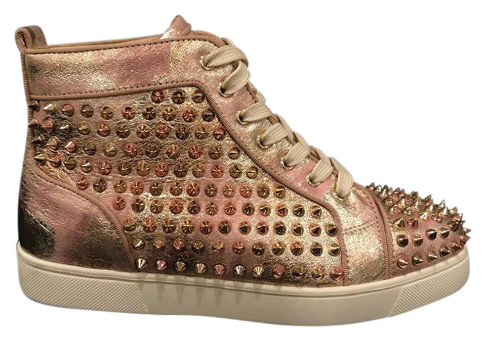 reputable site 5949e fbd76 Christian Louboutin Gold Louis Orlato Spike Pink Flat High Top Sneakers  Size EU 39 (Approx. US 9) Regular (M, B)