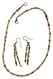 Other Multi color beaded necklace and earring set