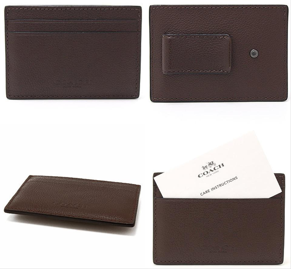 Coach brown new mens leather business card case holder money clip coach new coach mens leather business card case holder money clip brown 1234 colourmoves
