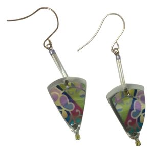 Multi color, silver dangling earrings
