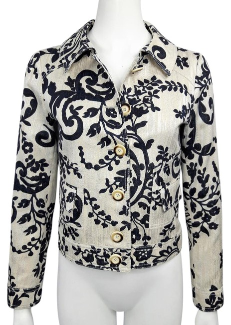 Item - Beige Blue & Black L Roma Metallic Cotton Blend Floral Scroll L/S Jacket Size 6 (S)