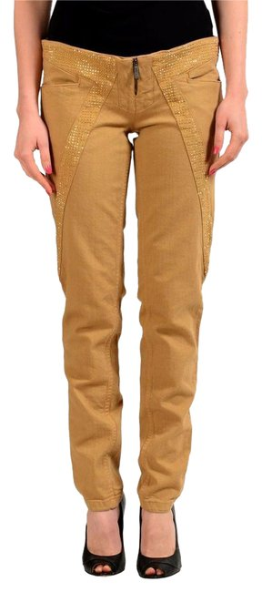 Item - Brown Beads Decorateed Denim Women's Casual Pants Size 4 (S, 27)